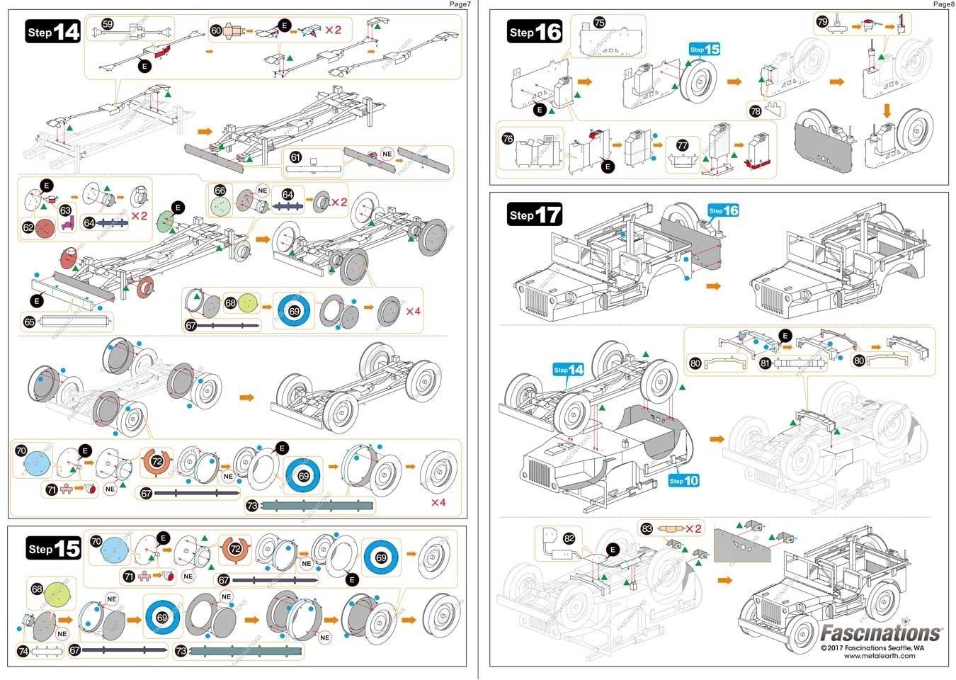 Metal Earth 3D metal Puzzle modelos de corte por l/áser Fascinations ICONX Willys Jeep Rompecabezas de metal 3D
