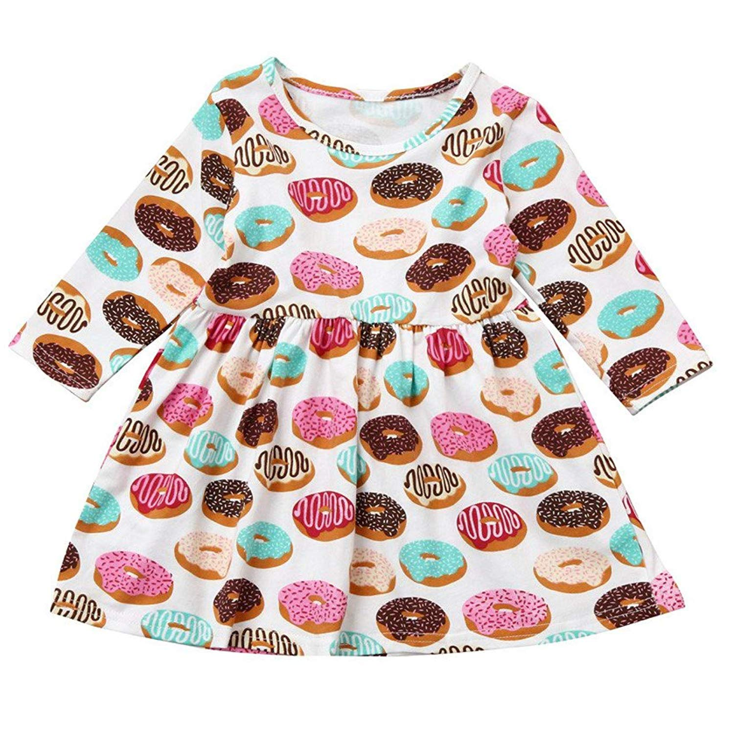 Toddler Kids Baby Girls Summer Dress Donut Print Skirt Long Sleeve Outfits Party Clothes Set-ANZ