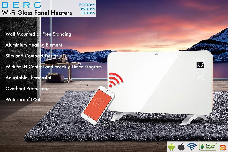White, 1000W BERG SMART WIFI ELECTRIC GLASS PANEL HEATER RADIATOR WORKS WITH ALEXA//GOOGLE ASSISTANT BLACK WHITE 2000W 1500W 1000W