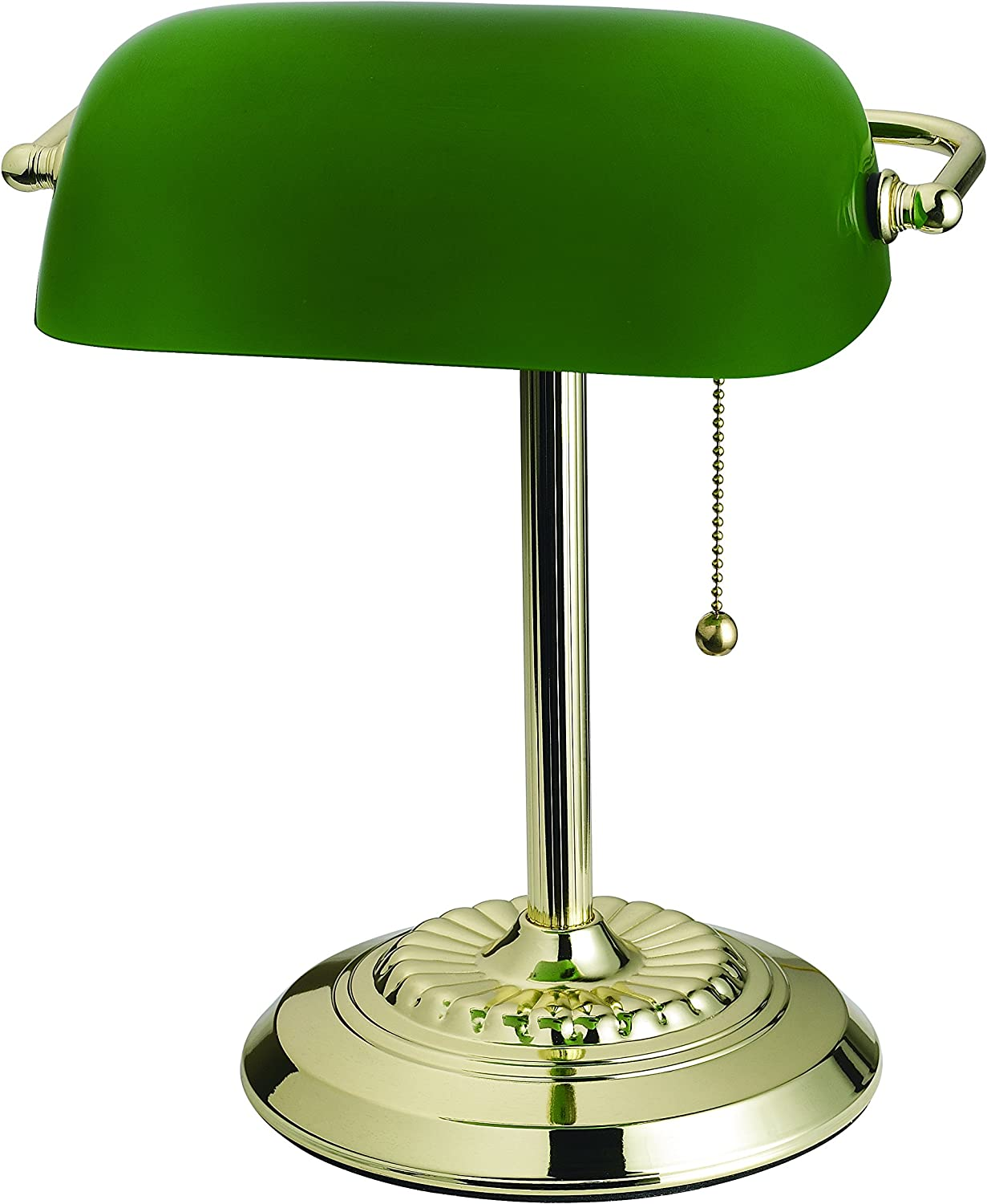 Catalina Lighting 17466-017 Franklin Banker s Lamp, Plated Brass with Adjustable Green Glass Shade, 14.5