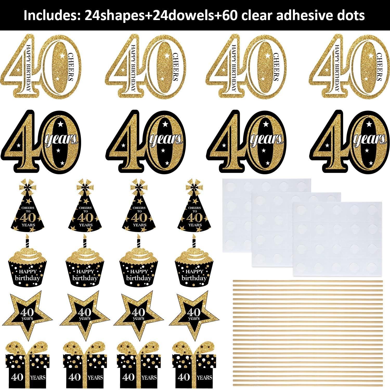 16/ème Anniversaire D/écoration de F/ête danniversaire B/âtons de Pi/èce Ma/îtresse de F/ête danniversaire en Or Table Toppers Brillants Fournitures de F/ête 24 Paquets
