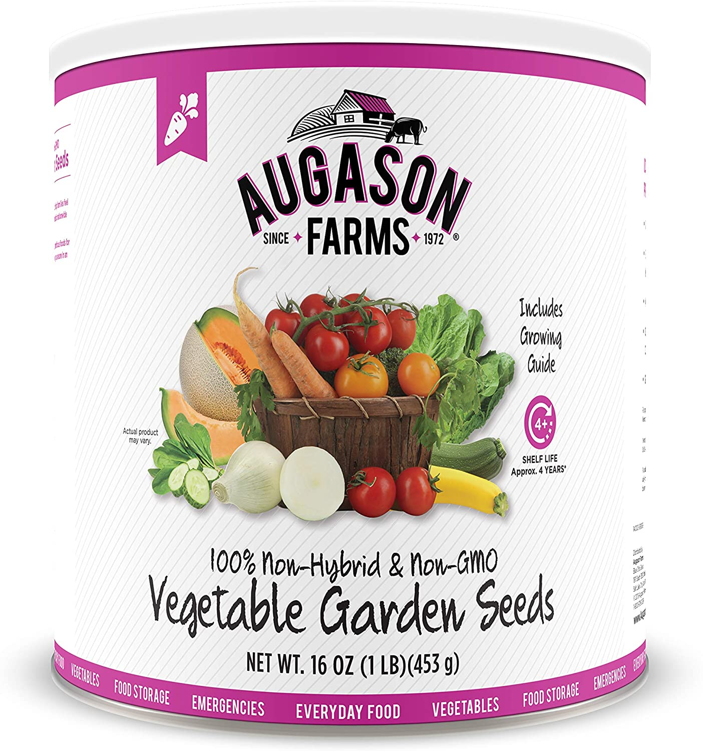 Augason Farms 5-14000 Vegetable Garden Seeds 13 Variety 1 lb No. 10 Can