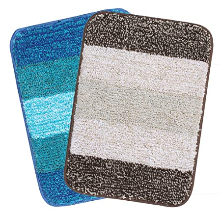 Saral Home Soft Microfiber Bathmat (35x50cm, Multicolour) - Pack of 2 Carpets & Rugs at amazon