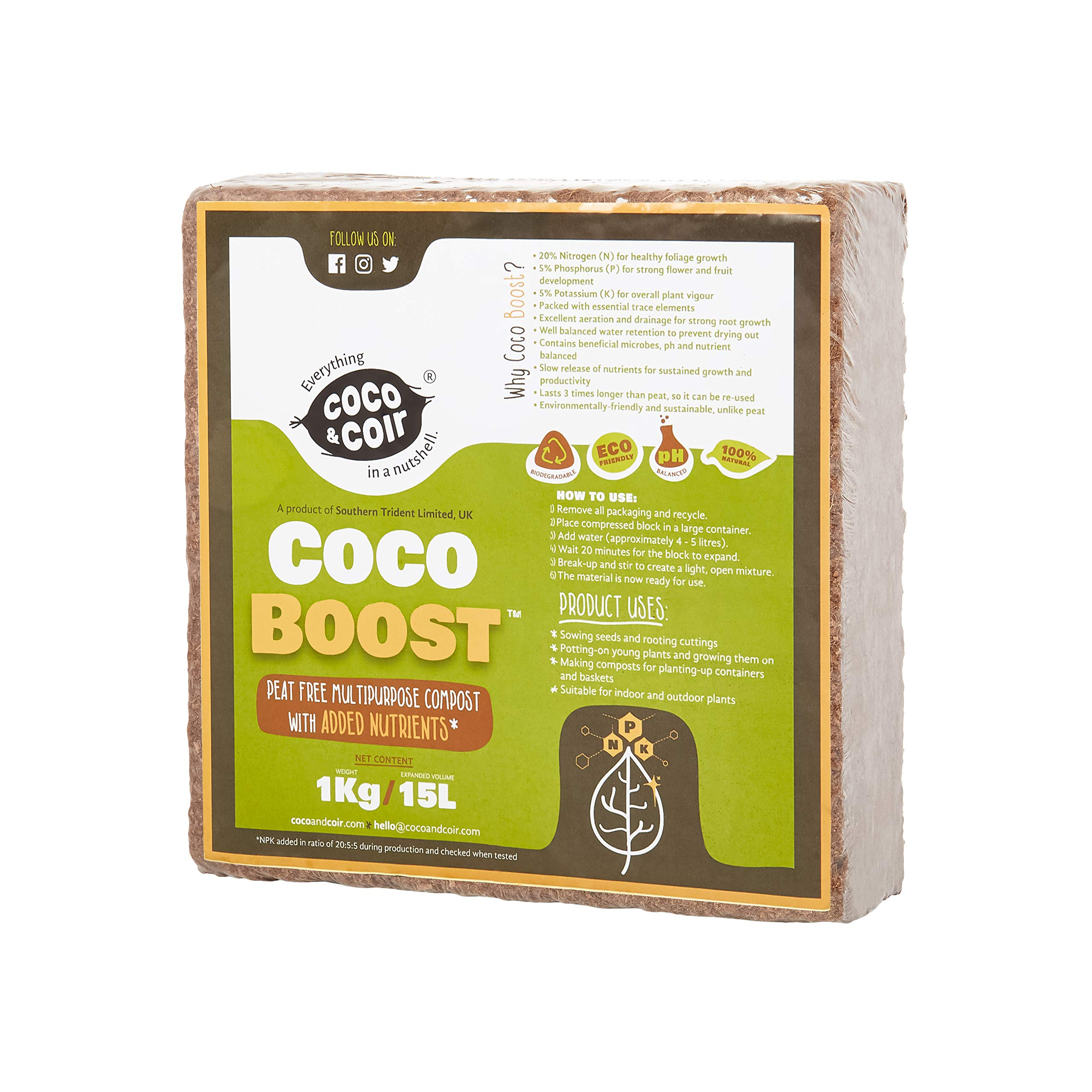 "COCO COIR with NPK - 1KG ""(15L)"" | COIR NPK MIX | 100% NATURAL GROWING MEDIA | COIR PLANT FOOD | COIR COMPOST | COCONUT COIR with NPK | SLOW RELEASE"