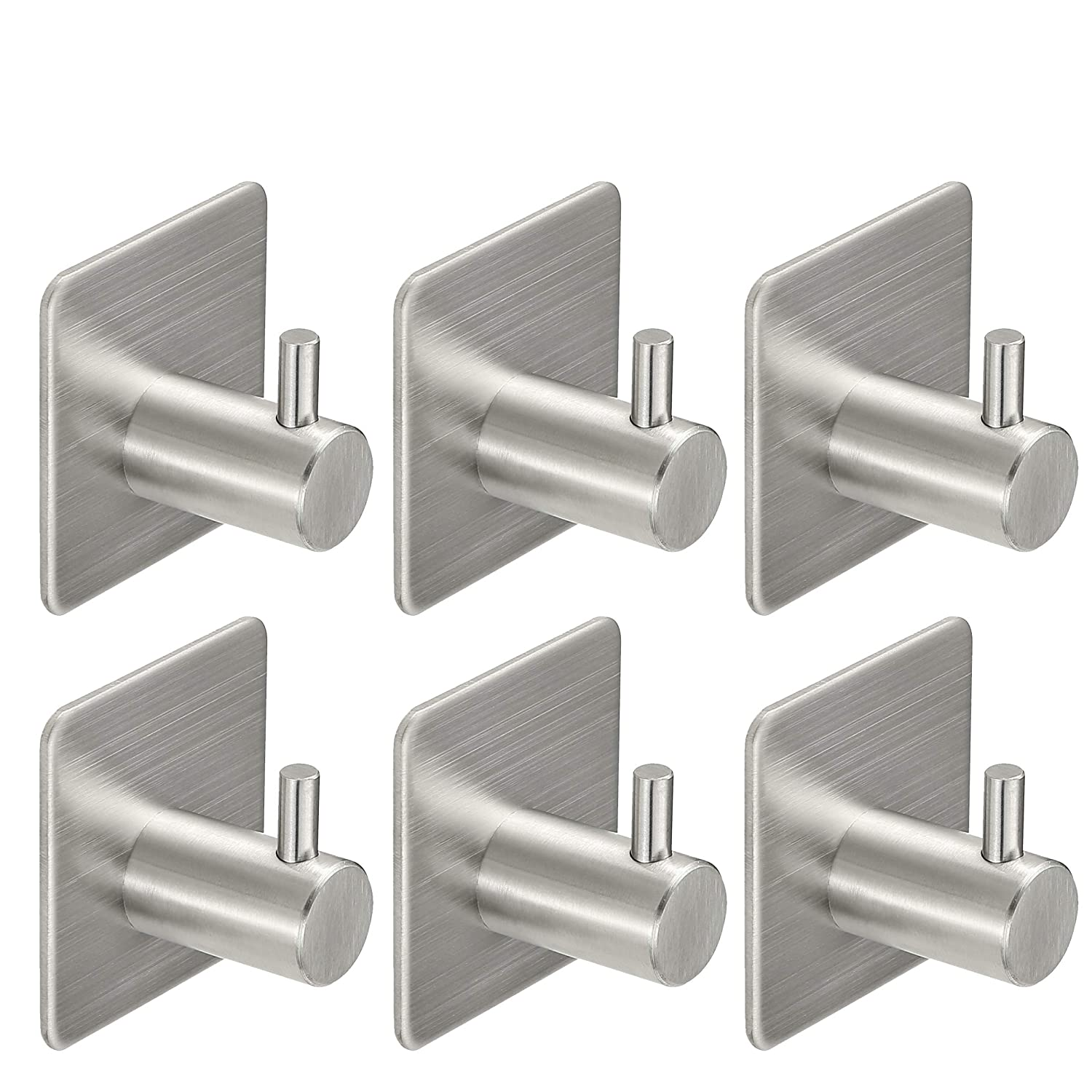 Monfish Adhesive Door Robe Towel Hooks Kitchen Sticky Hooks 304 Stainless Steel (Pack of 6) hook02