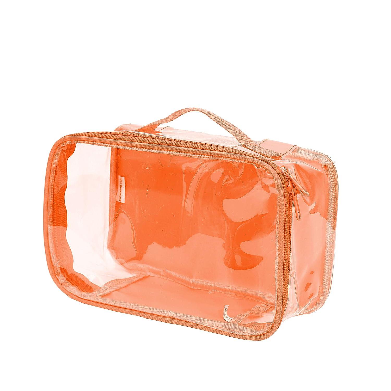 Clear Toiletry Makeup Bag, Cosmetic Organizer, Travel Case, PVC Plastic w/Handle (Orange)