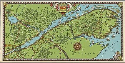 Gaspe Canada Map.Pocket Map Gaspe Peninsula 1929 Historic Antique Vintage Map