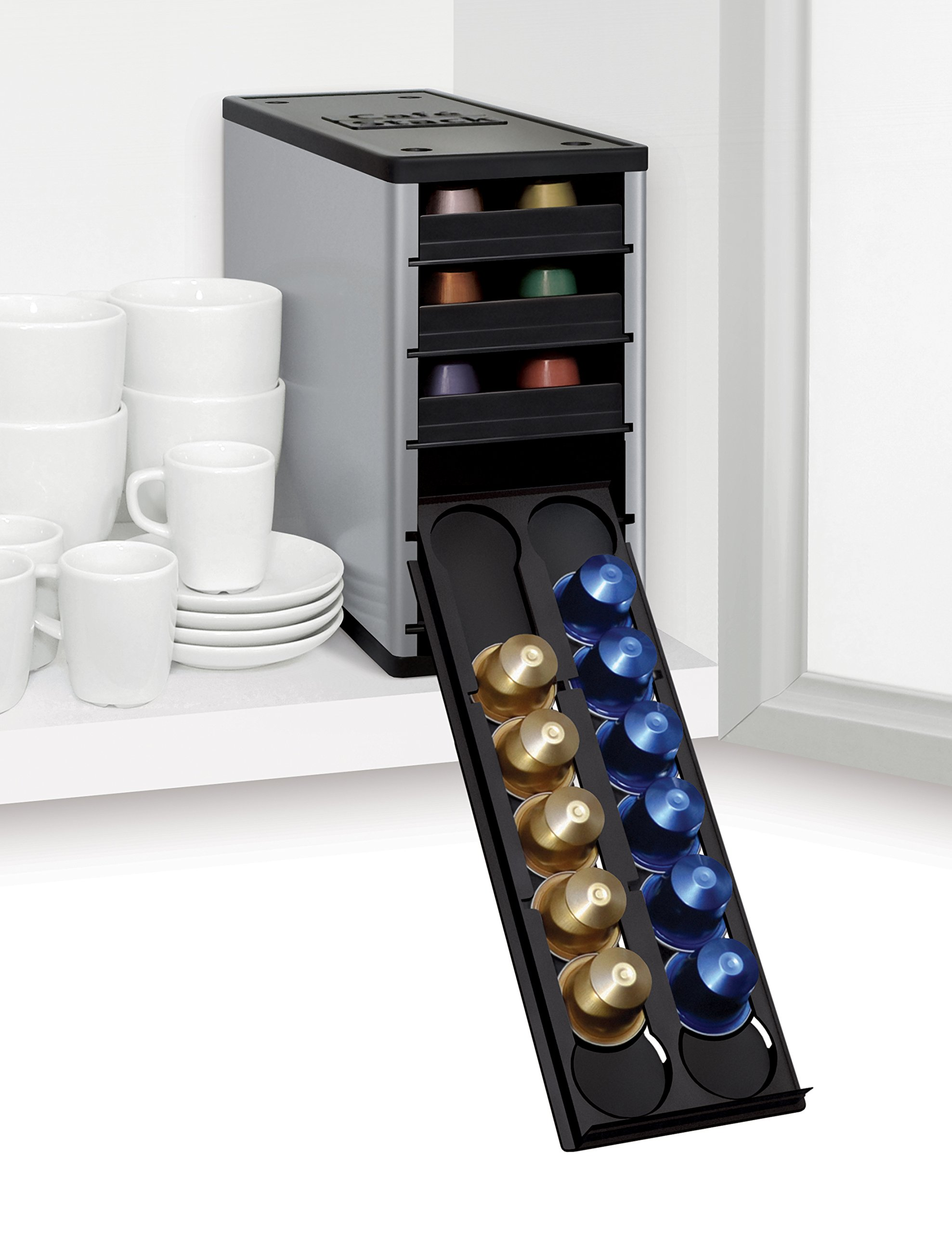 YouCopia CaféStack Nespresso Pod Storage Drawers Cabinet Organizer, 60 Capsules