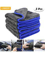 fixget am0032 1200 GSM 3pcs microfibra secado toalla Limpieza detalle lierung Cocina paños de limpieza Cera y sellado de distancia, perfecto para Auto lavado & pintura de 40 x 40 cm, 1200 GSM