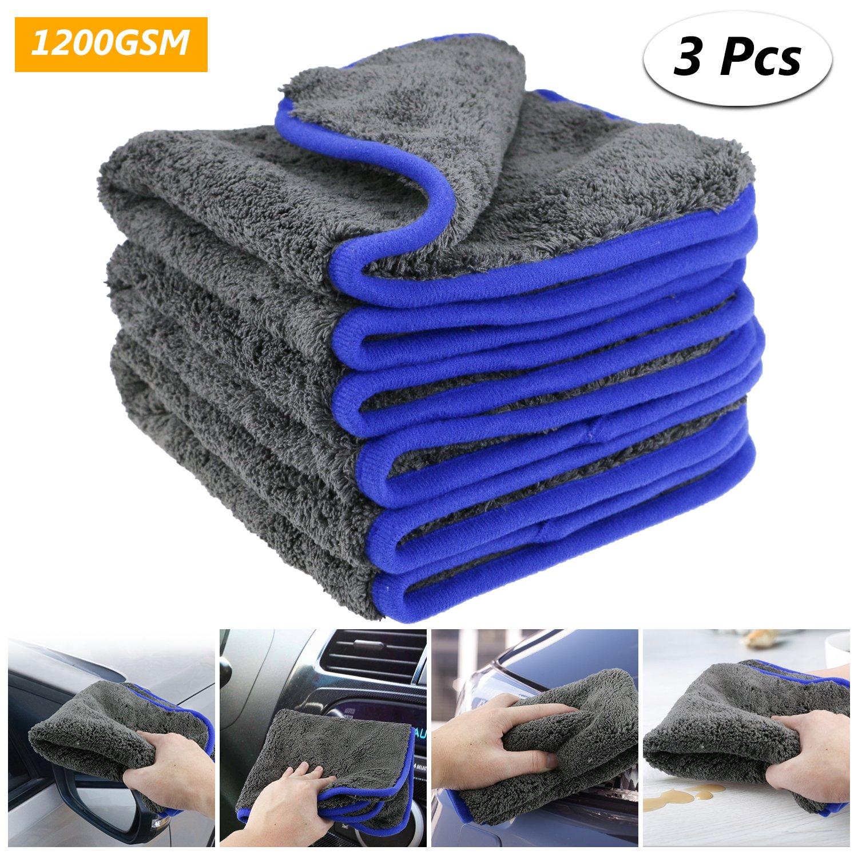fixget am0032 1200 GSM 3pcs microfibra secado toalla Limpieza detalle lierung Cocina pañ os de limpieza Cera y sellado de distancia, perfecto para Auto lavado & pintura de 40 x 40 cm, 1200 GSM Zexuan Direct