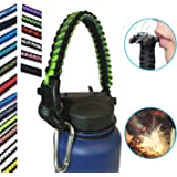 Hydro Flask Water Bottle Handle With Safety Ring and Carabiner #1 Paracord Handle Attaches to Any Flask, Never Drop or Lose Your Bottles, Fits 12, 16, 18, 20, 32 oz Wide Mouth Bottles, 26 Colors