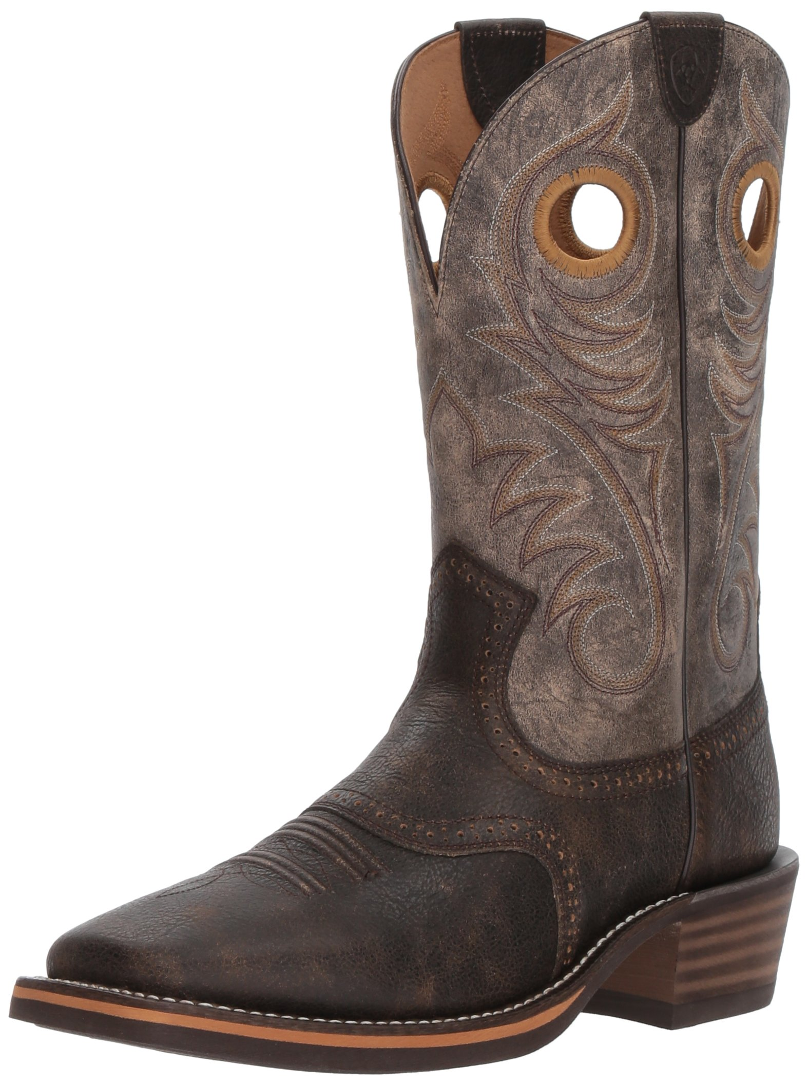 Ariat Men's Heritage Roughstock Wide Square Toe Western Boot, Brooklyn Brown/Ashes, 9.5 D US