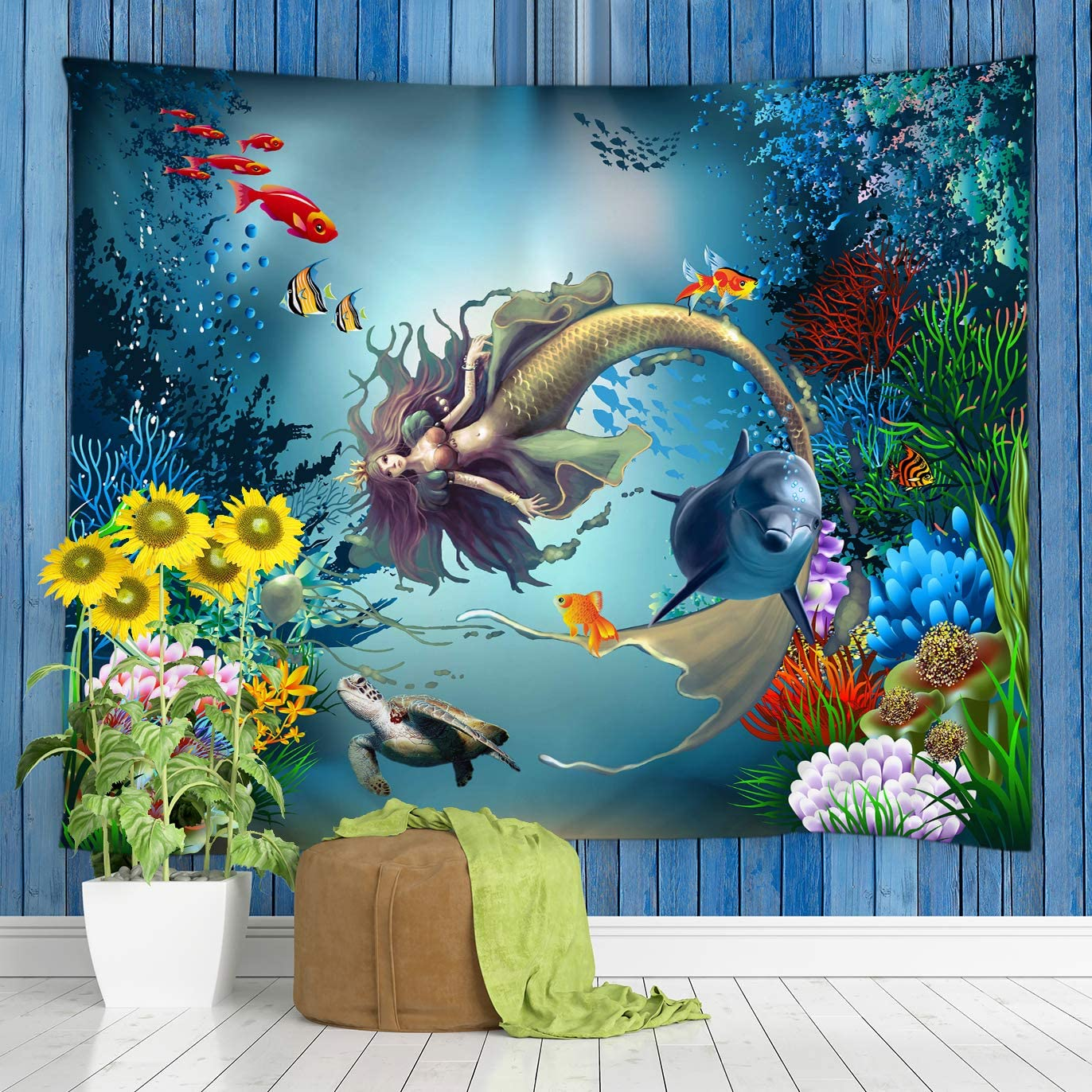 jingjiji Mermaid Tapestry Fantasy Underwater World Cartoon Dolphin Sea Turtle Tropical Fish Colorful Coral Reef Marine Wall Hanging Bedroom Living Room Polyester Fabric 90 x 71 Inch Blue