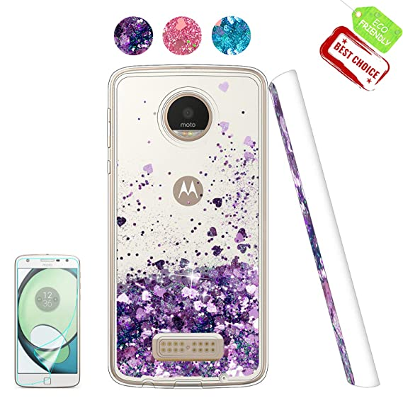 outlet store bba06 805f7 Moto Z Play Case,Shiny Glitter Moving Liquid Clear with TPU Bumper  Protective Back Cute Girls Case for Motorola Moto Z Play Droid Purple