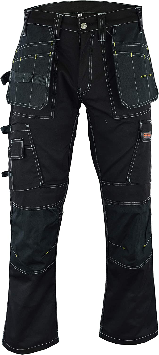 Wright Wears Men Work Cargo Trouser Black Heavy Duty Multi Pockets /& Knee Pad Pockets Like Dewalt