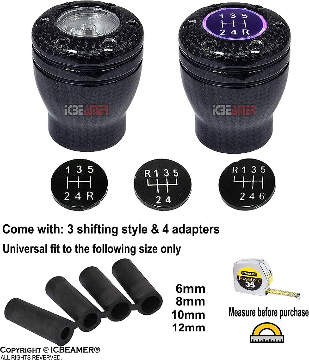 ICBEAMER 100/% Carbon Fiber Shift Knob 5 6 Speed Stick Manual Transmission with Blue LED Light /& 2 pcs CR2032 Battery
