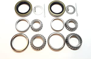 (Set of 2) WPS 3500# Trailer Axle Bearing Kit L68149 L44649 Grease Seal 10-19 I.D. 1.719'' for #84 Spindle
