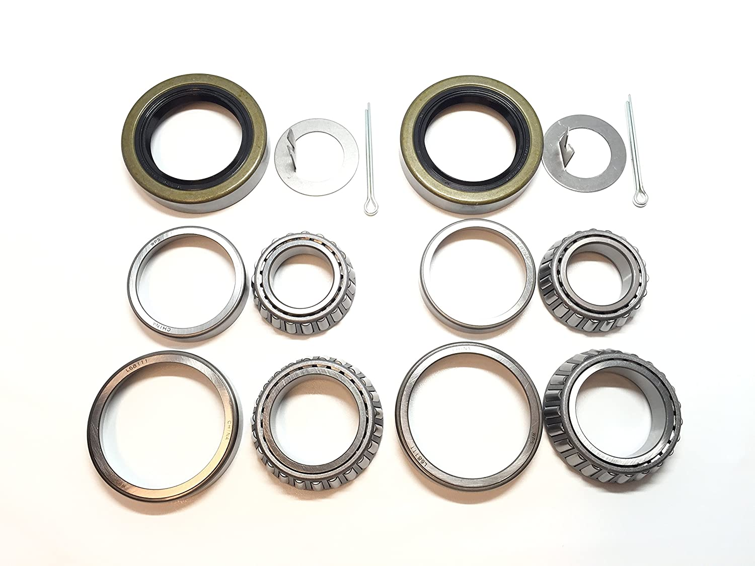 (Set of 2) WPS 3500# Trailer Axle Bearing Kit L68149 L44649 Grease Seal 10-19 I.D. 1.719'' for #84 Spindle 812wK2uxyHL