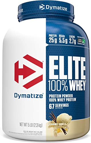 Dymatize Elite 100 Whey Protein Powder, 25g Protein, 5.5g BCAAs 2.7g L-Leucine, Quick Absorbing Fast Digesting for Optimal Muscle Recovery, Gourmet Vanilla, 5 Pound