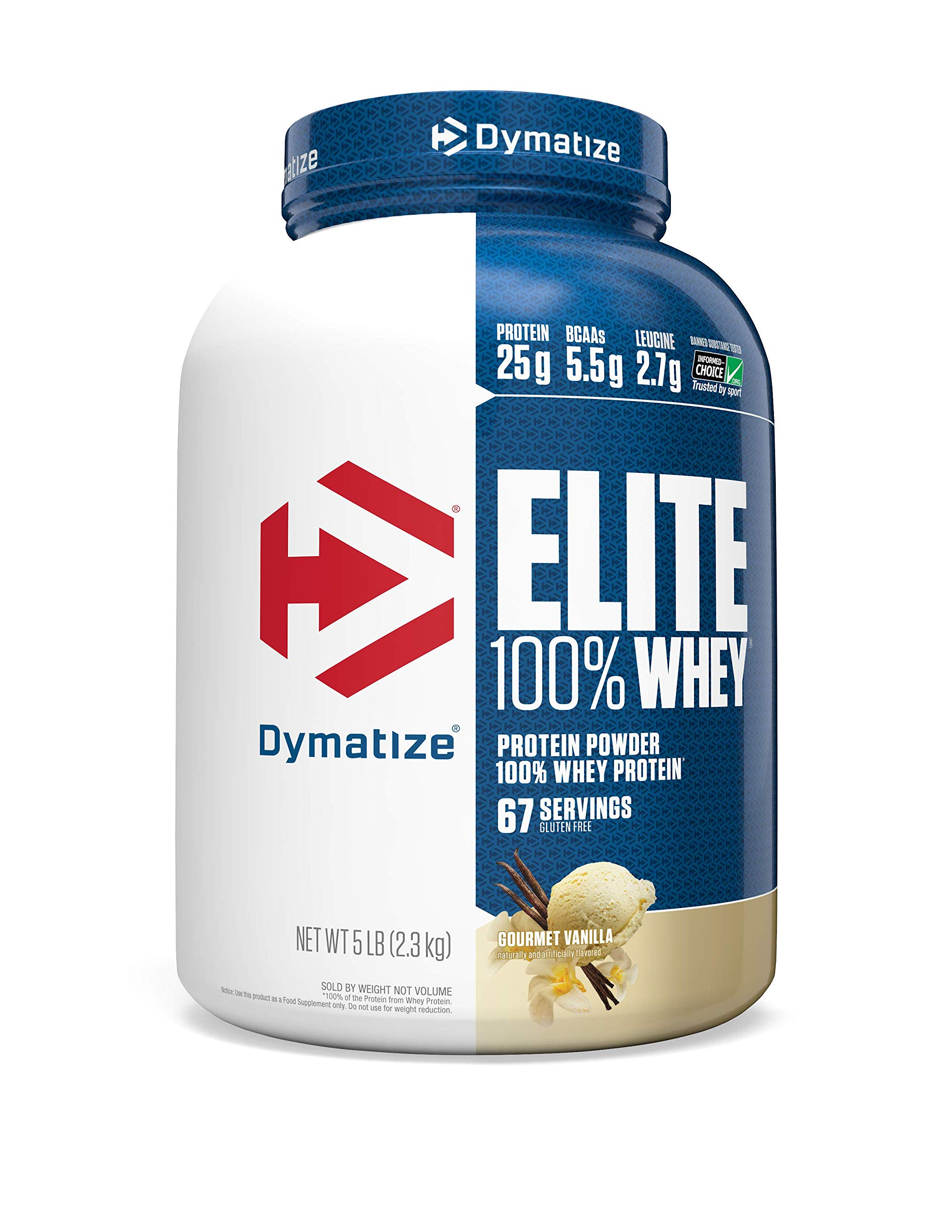 Dymatize Elite 100% Whey Protein Powder, Take Pre Workout or Post Workout, Quick Absorbing & Fast Digesting, Gourmet Vanilla, 5 Pound by Dymatize