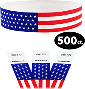"""Heavier Tyvek Wristbands 7.5 Mil- Goldistock Traditional Old Glory Flag with Stars 500 Count- ¾"""" Arm Bands- Paper-Like Party Armbands- Red, White & Blue - Patriotic Wrist Bands for Your Special Event"""