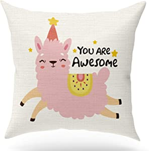 KongMoTree Cute Llama Inspirational Quotes Decorative Linen Throw Pillow Case Cushion Cover,You are Awesome,Nursery Decorative Children Room Decoration Home Decor for Sofa Bedroom Office,18x18 inch