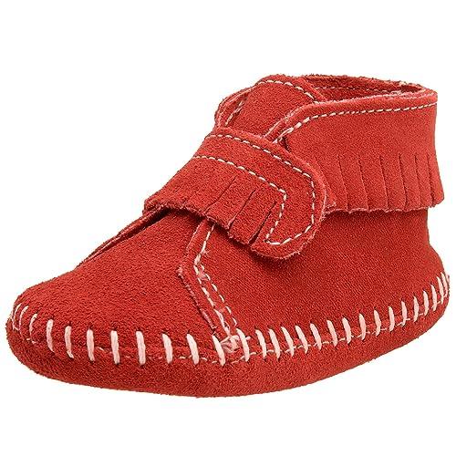 Minnetonka Velcro Front Strap Bootie, Mocasines para Bebés, Rojo (Red), 18 EU: Amazon.es: Zapatos y complementos