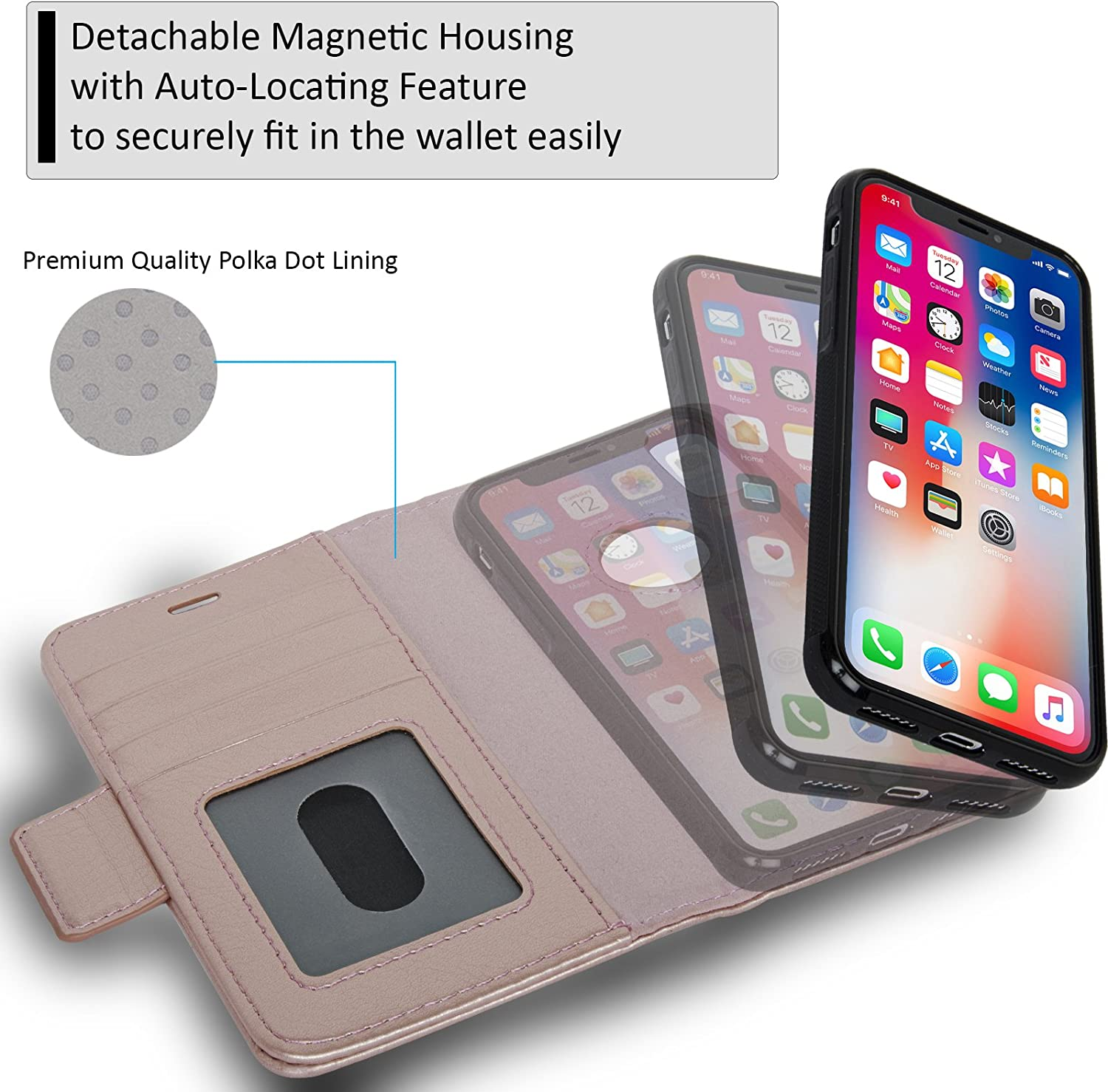 Navor Detachable Magnetic Wallet Case and Universal Car Mount Compatible for iPhone 8 Plus RFID Protection Vajio Series -Mint