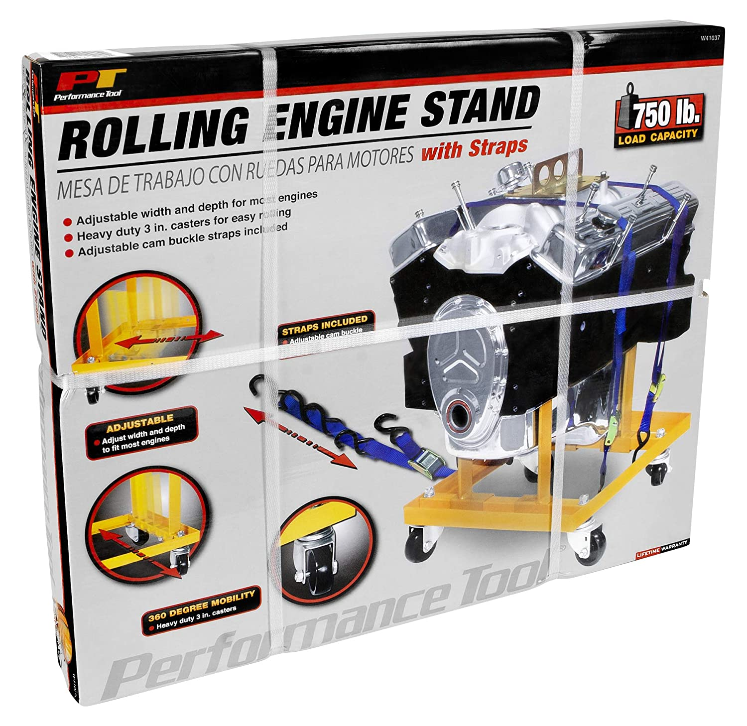 Amazon.com: Performance Tool W41037 Rolling Engine Stand with Straps - 750 lb. Capacity: Automotive