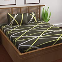 Story@Home 120 TC 100% Cotton Prism Collection 1 Bedsheet with 2 Pillow Cover for Living Room, Bedroom