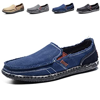 CASMAG Men's Casual Cloth Shoes Canvas Slip-on Loafers Outdoor Leisure Walking Blue 9 M US