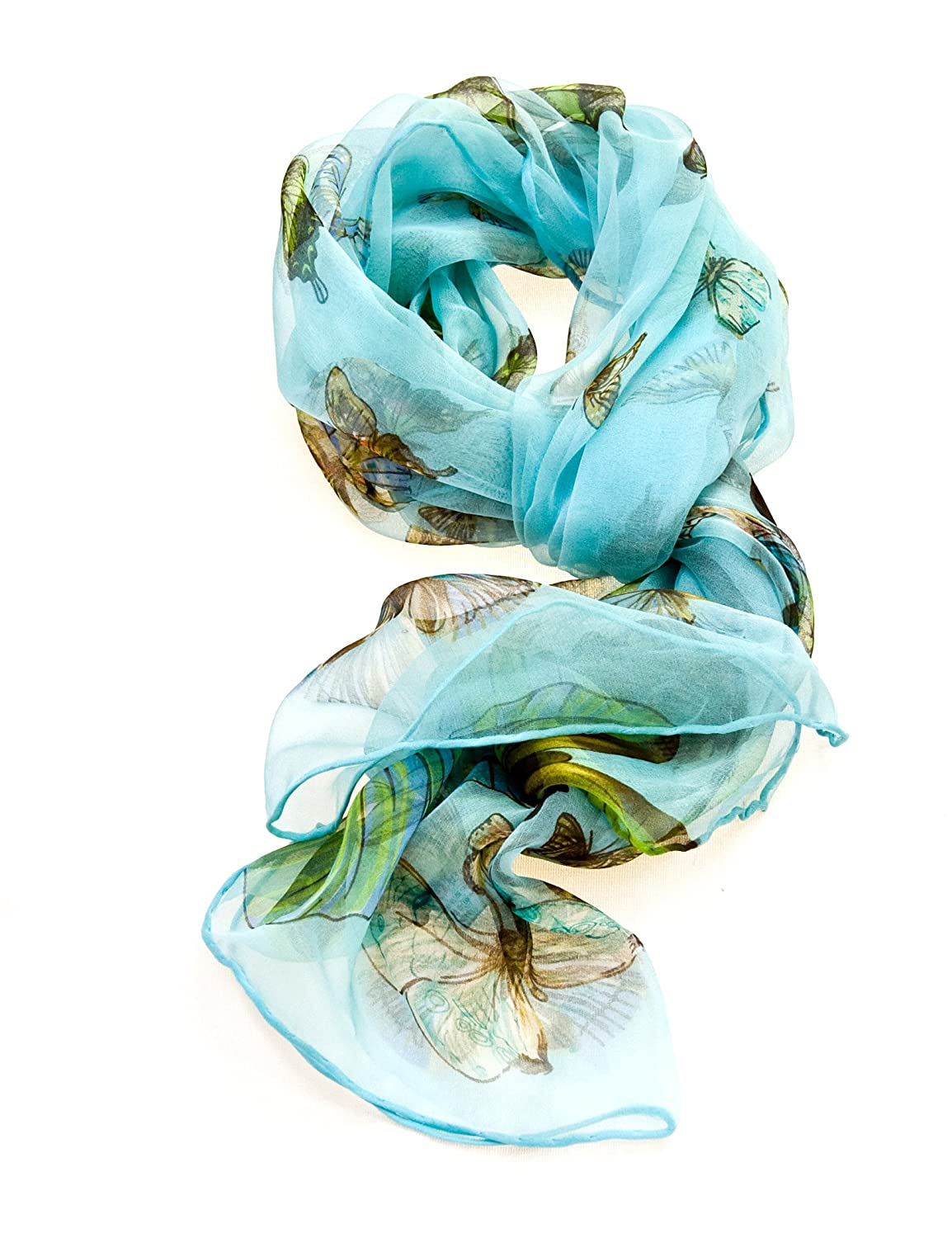 Womens Multi Function 100 % Pure Silk Butterfly Scarf  Headwear  Tested 297cf3a9a