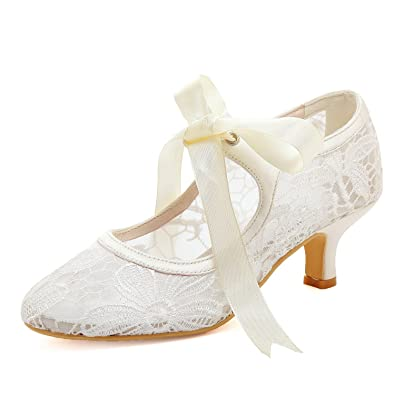 09860d213166c ElegantPark HC1702 Women Mary Jane Pumps Mid Heel Closed Toe Ribbon Lace Bridal  Wedding Shoes Ivory