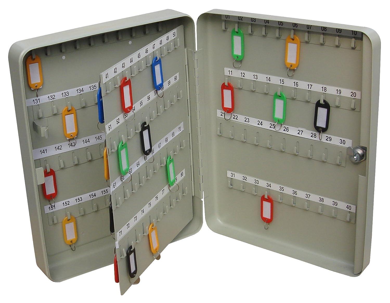 Helix Armoire à clés en acier avec fermeture et fixation murale, avec étiquettes de 160 couleurs différentes et 160 crochets numérotés, Gris Helix Ltd KC160