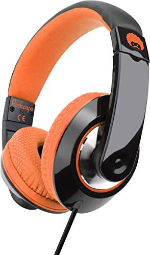 Rockpapa Comfort Adjustable Over Ear Headphones Earphones with Microphone in-line Volume for Adults Kids Childs Teens, Smartphones Laptops DVD MP3 4 Surface iPhone iPod iPad MacBook Black Orange