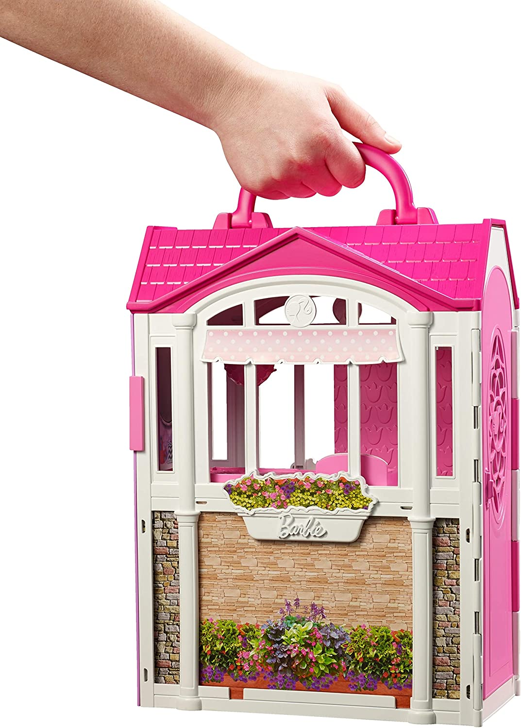 ?Barbie Glam Getaway Portable Dollhouse, 1 Story with Furniture, Accessories and Carrying Handle, for 3 to 7 Year Olds [Amazon Exclusive]