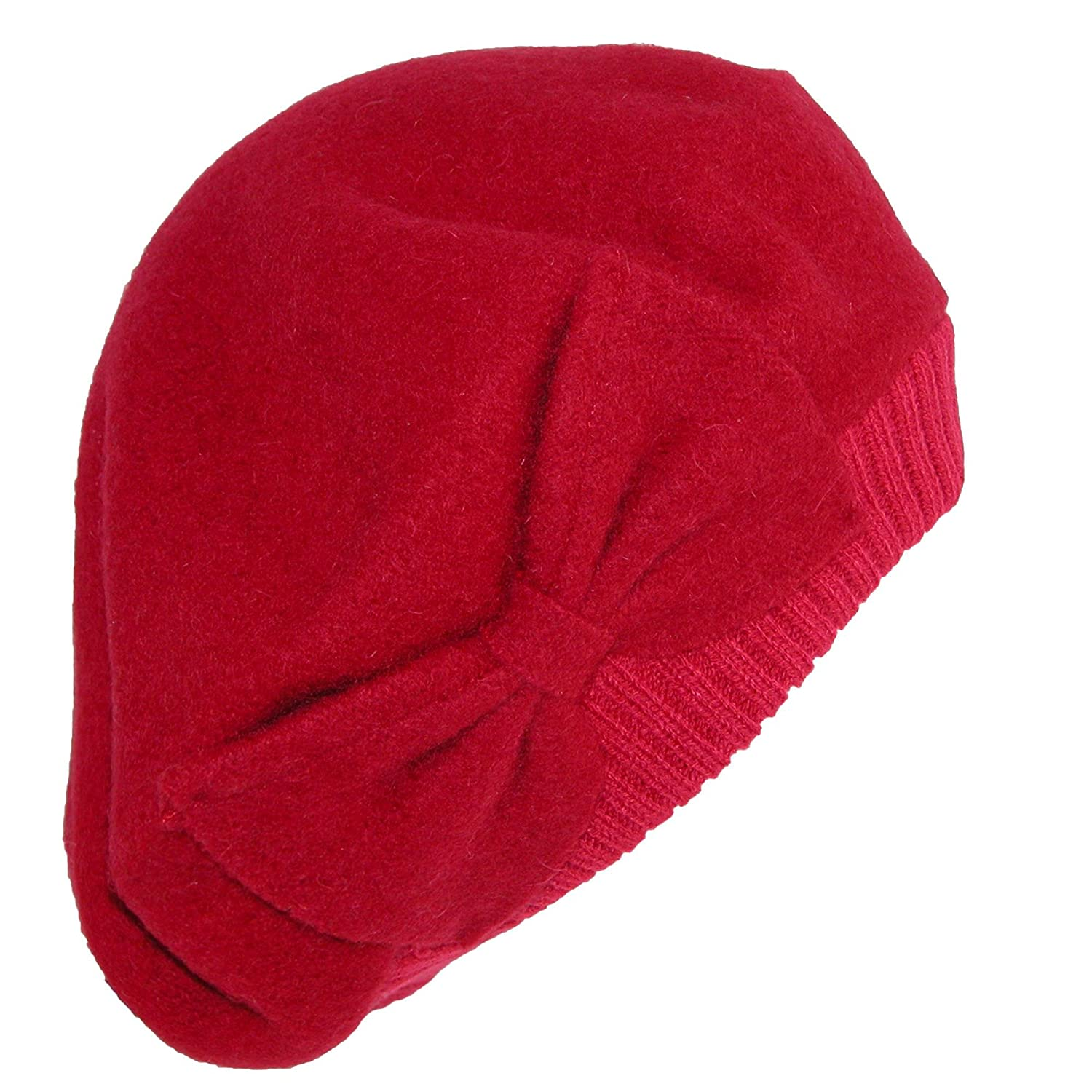 Pia Rossini Women's Wool Slouchy Beret with Oversized Bow Red