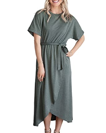 Imily Bela Womens Short Sleeve Shirt Dress Fit and Flare Summer Beach Midi  with Belt at Amazon Women s Clothing store  4ea30ab6b
