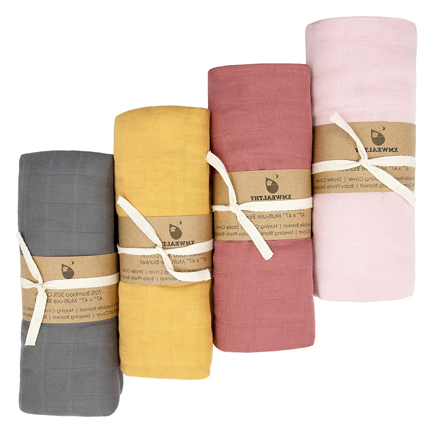 XMWEALTHY 4 Packs Soft Swaddle Blankets Sets 47 x 47 Organic Baby Receiving Blankets Muslin Baby Wraps Sets for Boys /& Girls Ideal Newborn Gifts