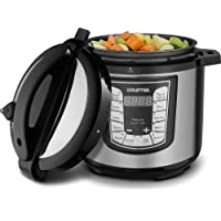Gourmia GPC625 Smart Pot Electric Digital Multifunction Pressure Cooker, 13 Programmable Cooking Modes, 6 Quart Stainless Steel, with Steam Rack - Includes Free Recipe Book