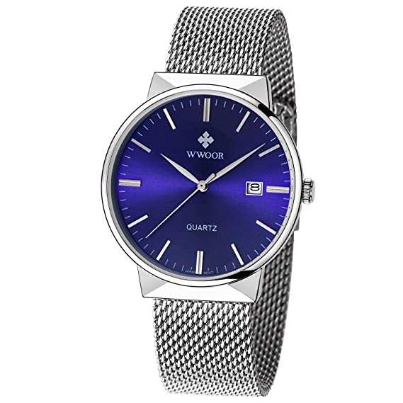 Amazon.com: WWOOR Mens Sport Quartz Watch Male Mesh Band Watches With Date Blue: Watches