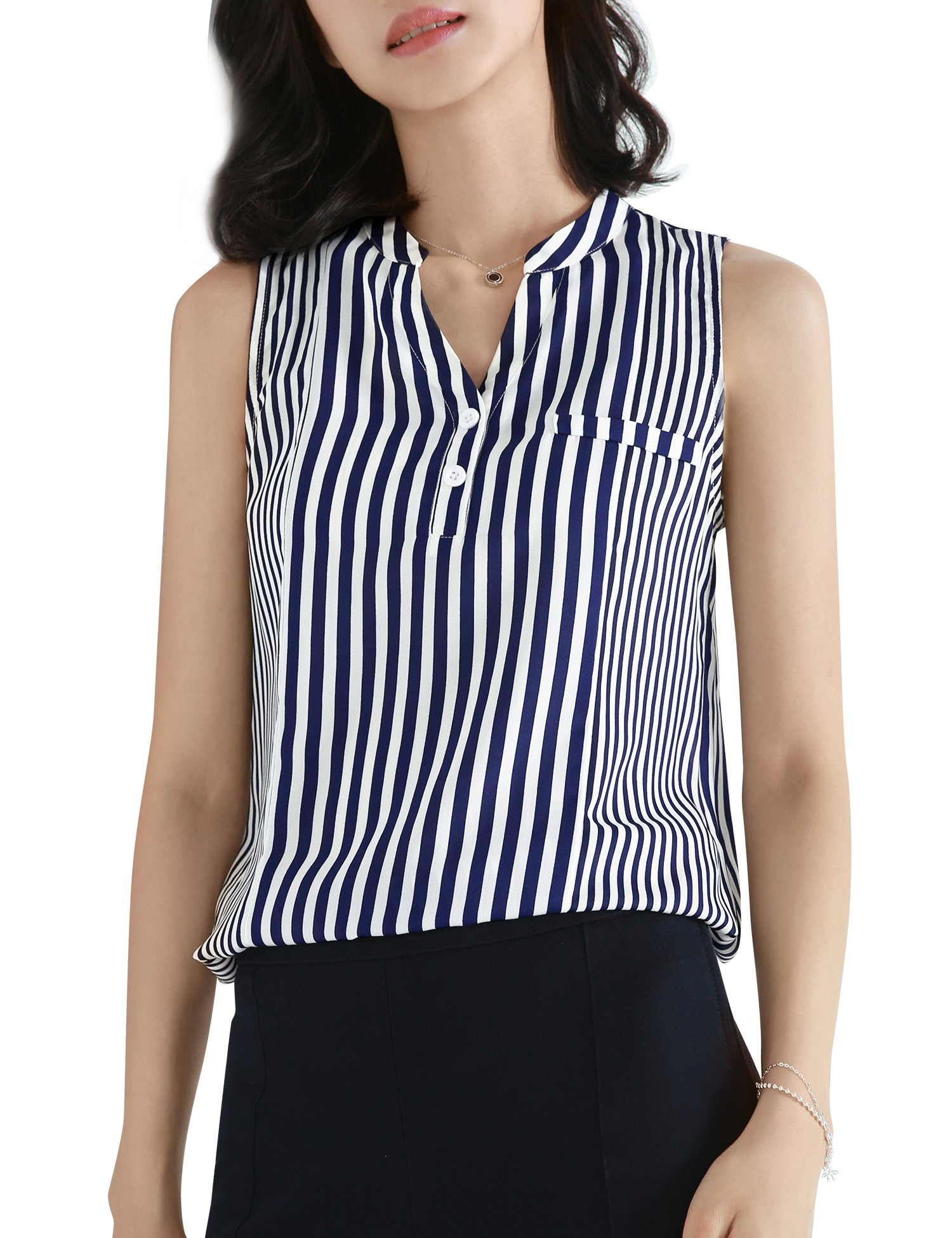 Timeson Chiffon Tank Tops, Women's Sleeveless Sheer Blouse Casual Lightweight Business Work Shirt V Neck Casual Dressy Tunic for Summer Button Down Blouses for Work Blue White Large