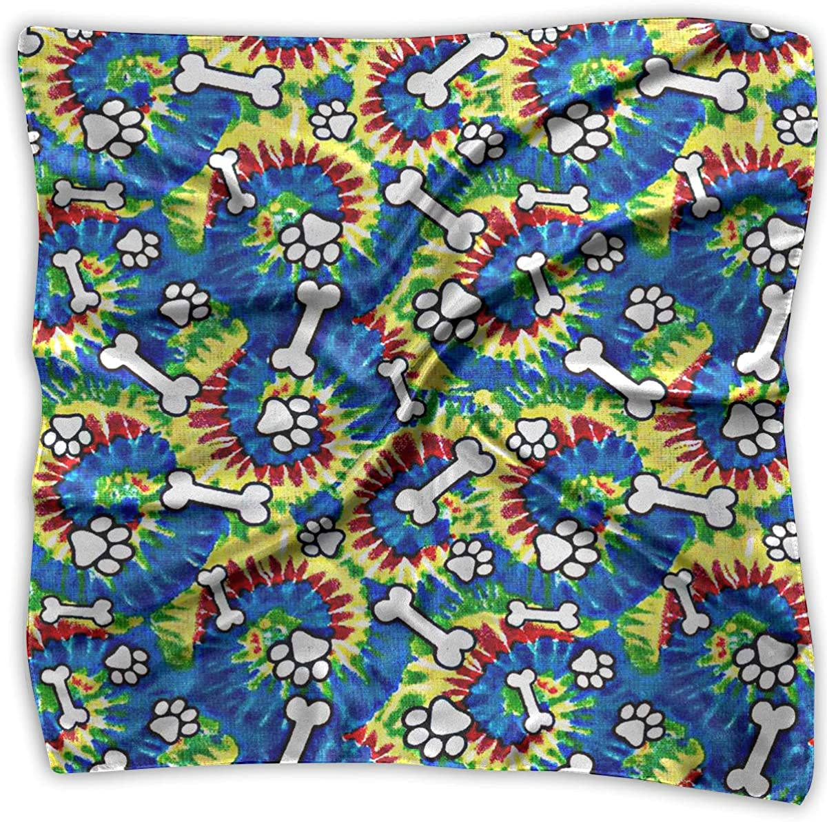 Womens Classic Handkerchiefs Tie Dye Paws /& Bones Square Silk Party Handkerchiefs