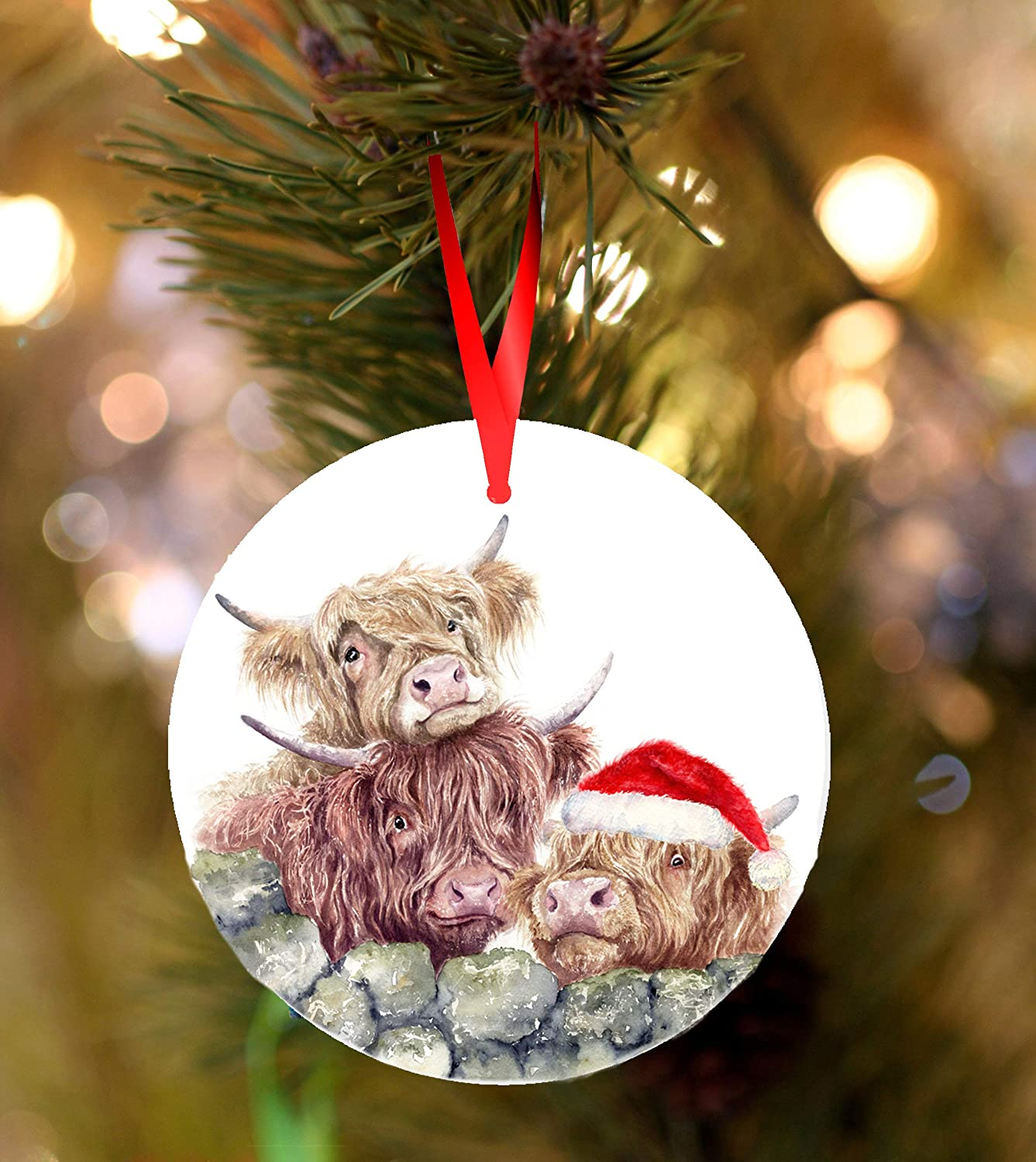 Flowershave357 Highland Cows Ceramic Hanging Christmas Decoration Ornament Christmas Tree Decor Christmas Ornament