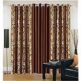 Export Hub Modern 3 Piece Eyelet Polyester Door Curtain Set - 7ft, Brown (EHSPR195_74)