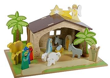 Kinder Weihnachtskrippe.Mentari Krippe Fur Kinder Weihnachtskrippe Aus Holz Spielset