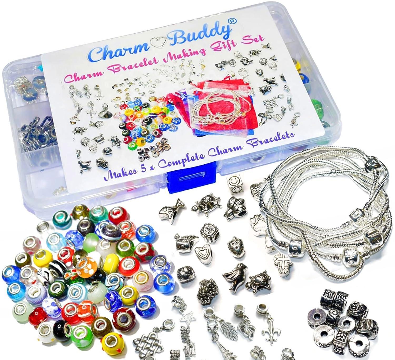 Womens Girls 5 x Charm Bracelet Jewellery Making Kit Birthday