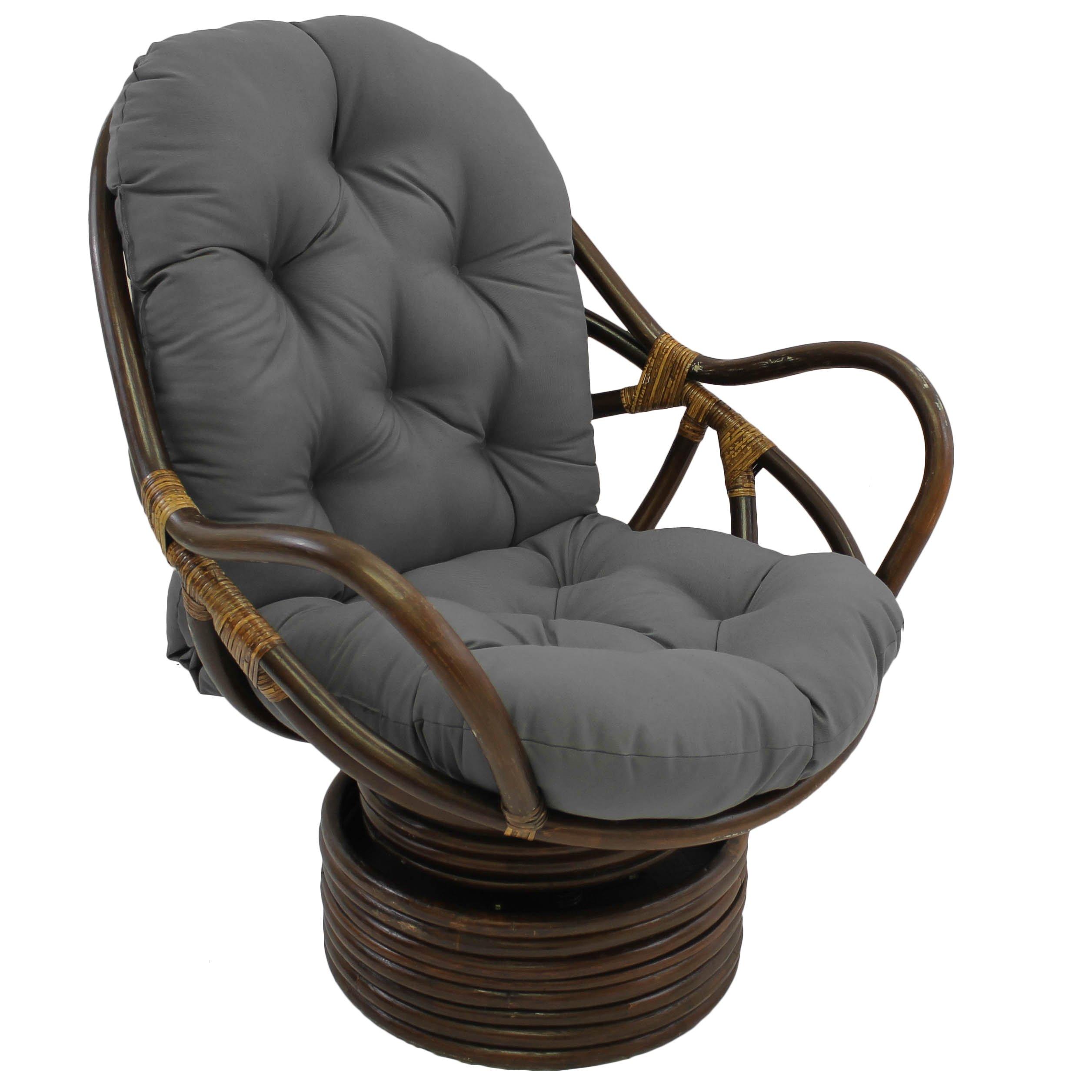 Blazing Needles Solid Twill Swivel Rocker Chair Cushion, 48'' x 24'', Steel Grey