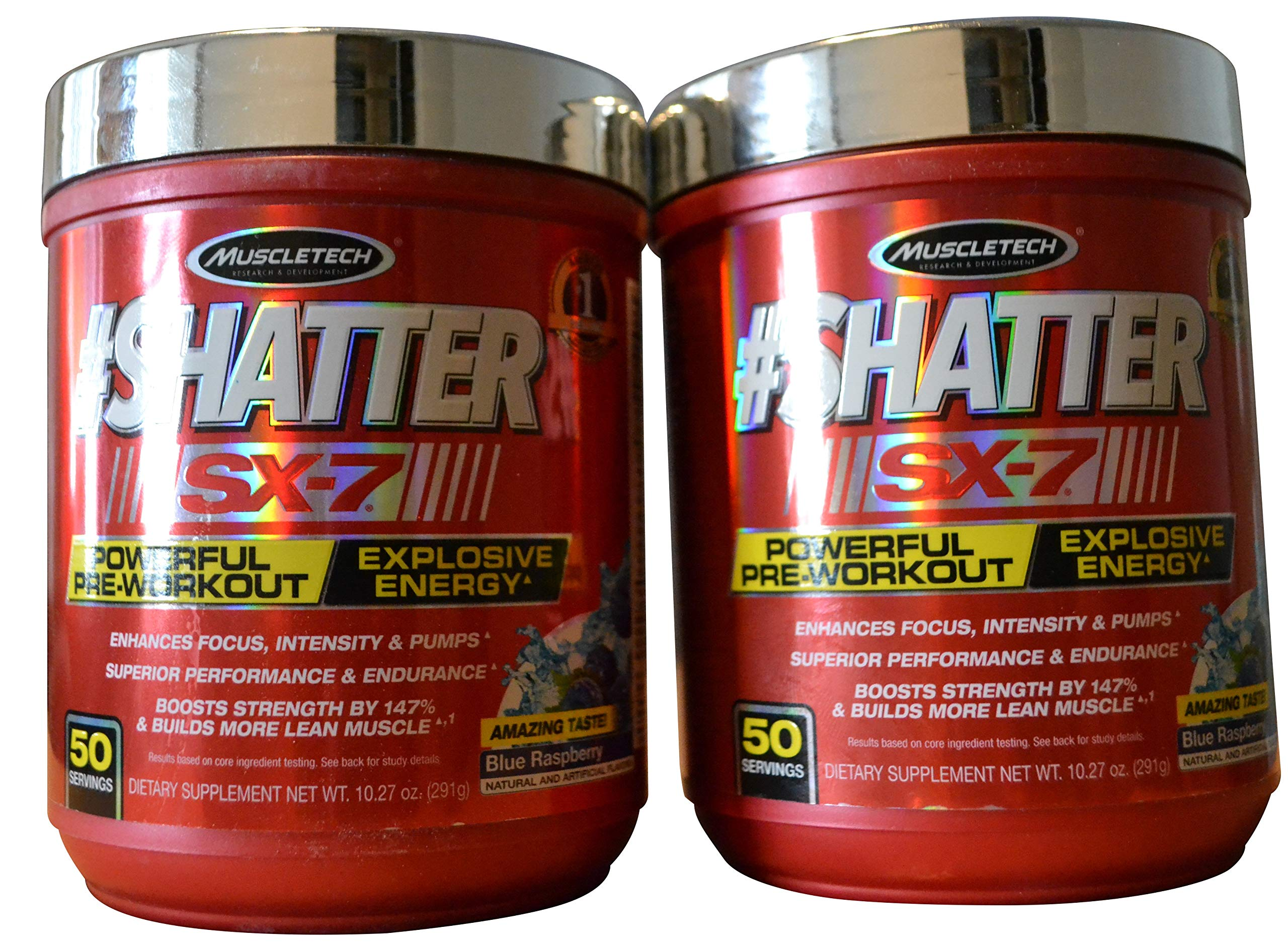 MuscleTech #Shatter SX-7 Blue Raspberry Pre-Workout (Pack of 2) 100 Servings