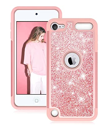 new product c45e3 362bb Dailylux iPod Touch 6th Generation Case, iPod Touch 5 Cases, Glitter Bling  Girls Women Dual Layer Heavy Duty Impact Protective Phone Case for Apple ...
